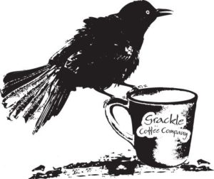 Logo for grackle Coffee Company - a grackle sitting on a coffee cup