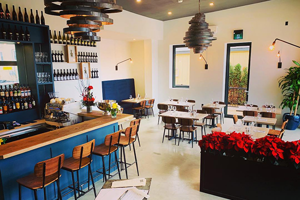 Interior of restaurant stools and tables