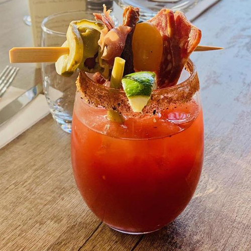 Caesar topped with Charcuterie skewer