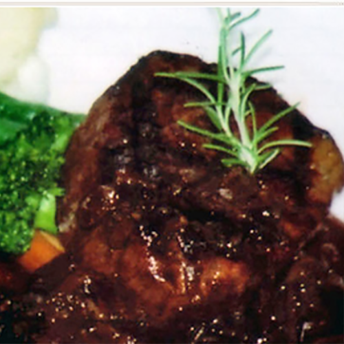 juicy steak topped with rosmary